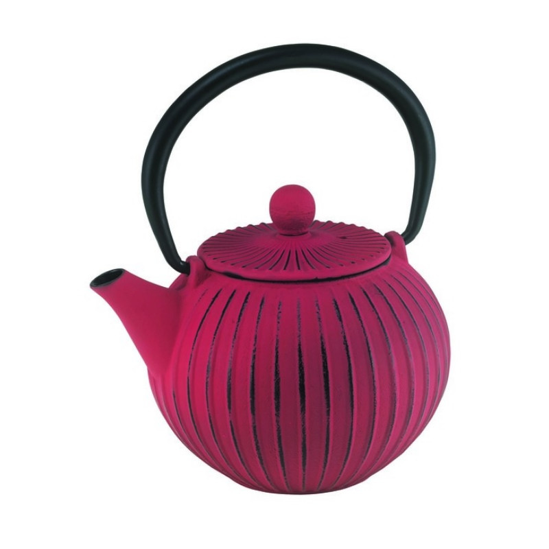 Cast Iron Tea Pot - Ribbed Red/Black