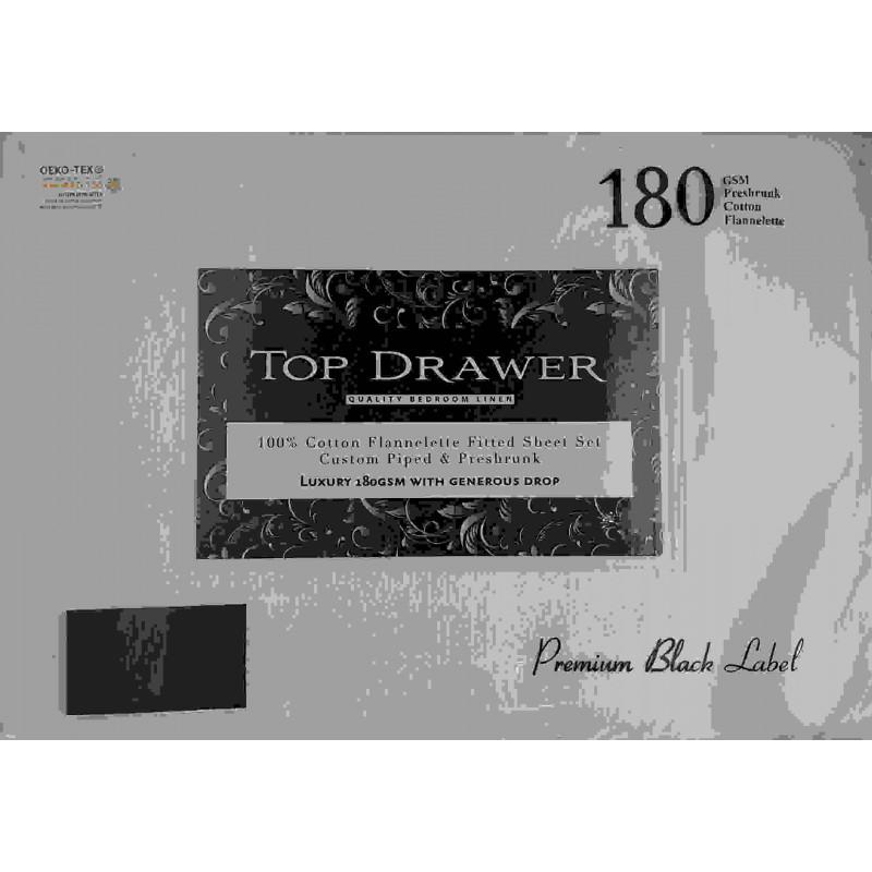Top Drawer Flannelette Sheet Set King Single White