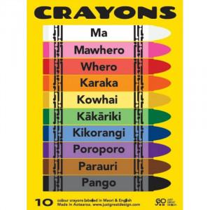 Coloured Crayons in Te Reo Maori & English
