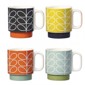 Orla Kiely Linear Stem Stackable Mug Set 4