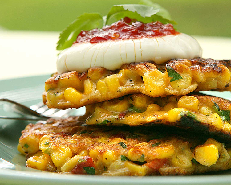 Ruth Pretty's Corn, Herb & Roasted Red Pepper Fritters