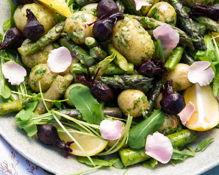 Herbed Potato + Asparagus Salad with Baby Beets
