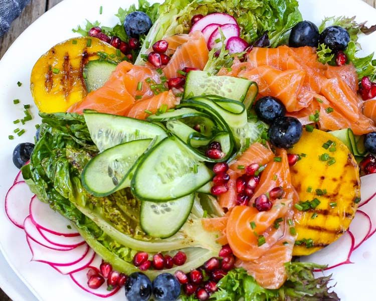 Regal King Salmon Grilled Mango Salad with Sweet & Sour Citrus Dressing