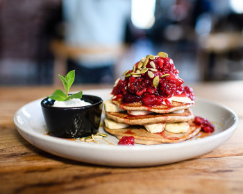 The Botanist's Buckwheat Pancakes with Berry Compote & Banana