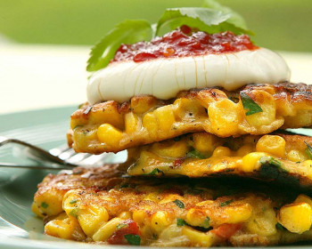 Ruth Pretty's Corn, Herb, & Roasted Red Pepper Fritters