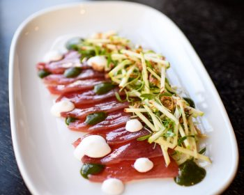 Shed 5 Tuna Sashimi with Apple and Lychee Salad, Nam Jim, and Coconut Sauce