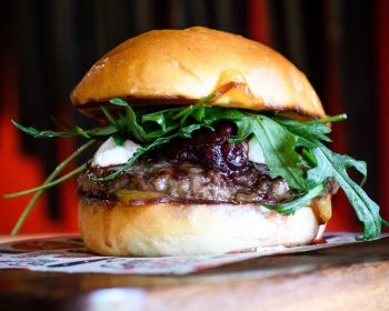 Grill Meats Beer Venison Burger with Smoked Ricotta & Tamarillo Chutney