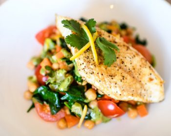 Chocolate Fish Cafe's Spiced Chickpea Salad with Fillet of Terakihi & Homemade Vinegarette