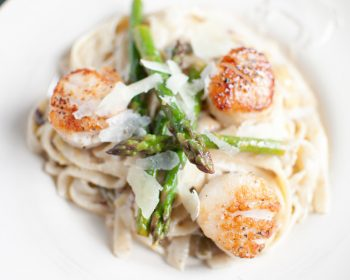 Fresh Asparagus and Scallop  Linguine