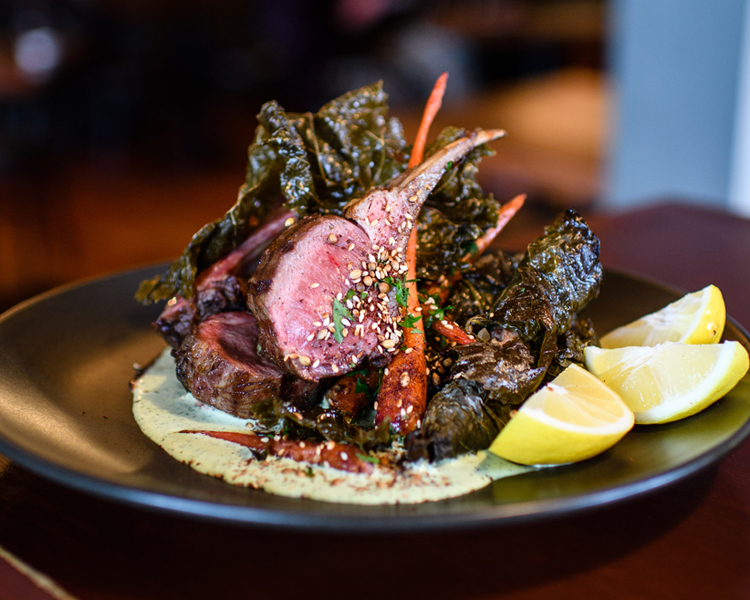 The Larder's Spring Lamb Rack with Minted Labne & Stuffed Vine Leaves