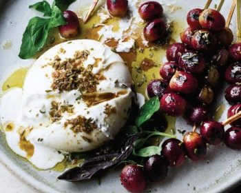 Ottolenghi's Burrata  with Grilled Grapes & Basil