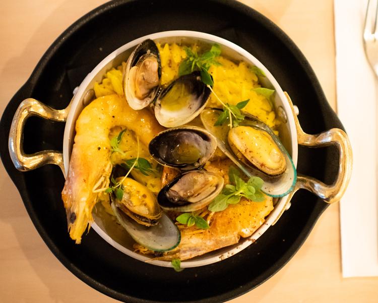 Oiko's Seafood Kritharoto with Saffron and Greek Basil