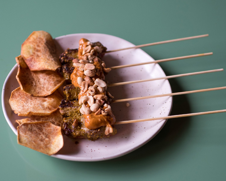 Mr Go's Beef Satay Skewers with Fix and Fogg Smoke and Fire Peanut Sauce