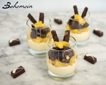 Bohemein's White Chocolate Bavarois with Pineapple Black Pepper Compote and Cookies