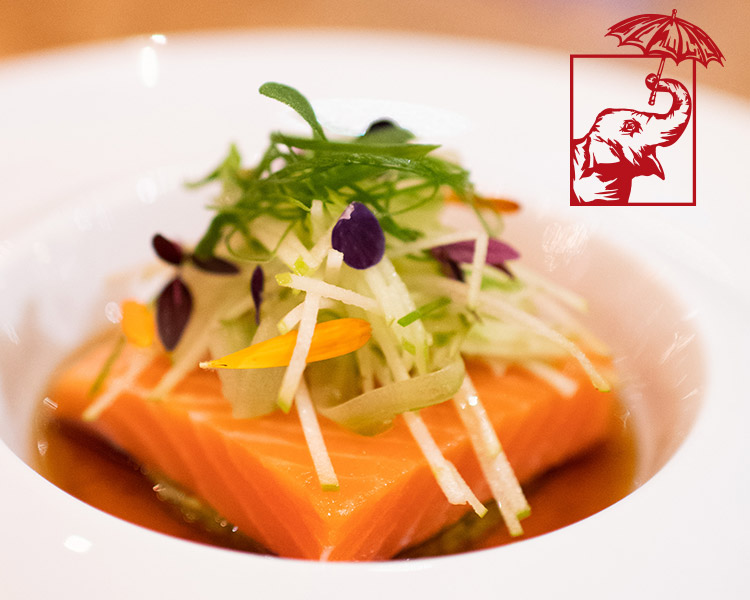Monsoon Poon's Cured Salmon w/ Green Curry Pea Puree and Beer Caramel