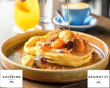 Egmont Street Eatery Ricotta Pancakes with Mandarin Curd & Ginger Mascarpone